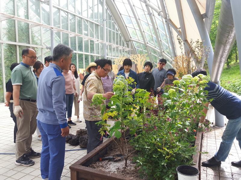 녹지과-성남 가드너 교육생들이 지난해 5월 신구대학교 식물원에서 실외정원 만들기 실습 중이다