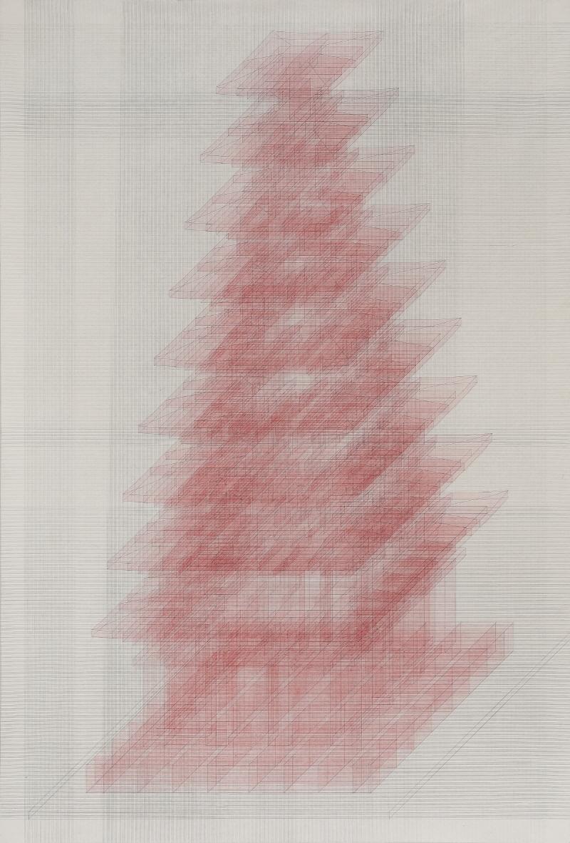 탑_2018_194.5x131.5cm_장지에 연필,채색