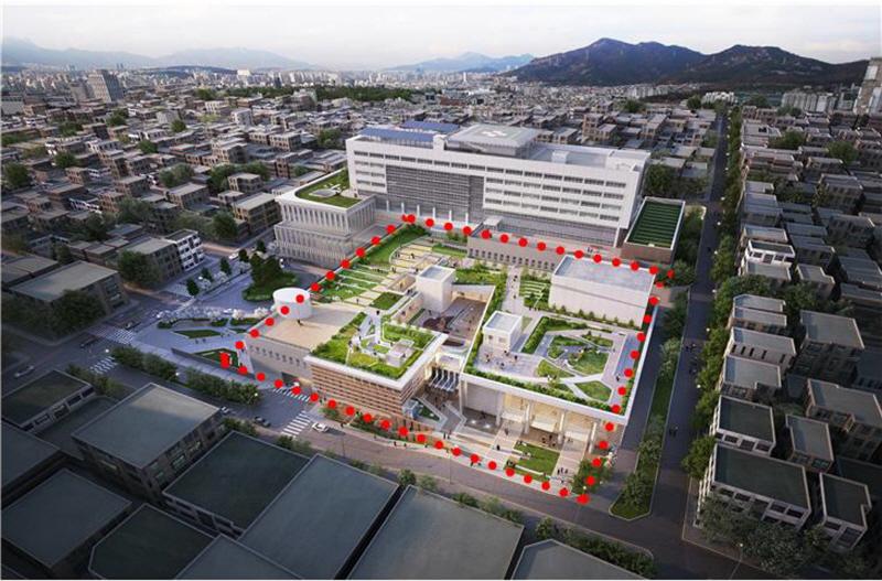 공공의료정책과-성남시의료원 옆에 2021년 건립될 문화·의료시설 조감도(빨간 점선)